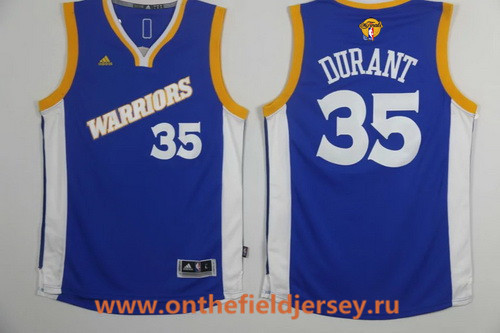Men's Golden State Warriors #35 Kevin Durant Blue Retro Stitched 2016 NBA adidas 2017 The NBA Finals Patch Jersey