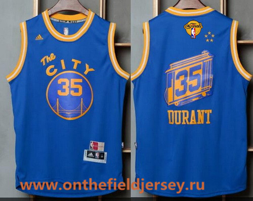 Men's Golden State Warriors #35 Kevin Durant Blue The City Revolution 30 Swingman 2017 The NBA Finals Patch Jersey