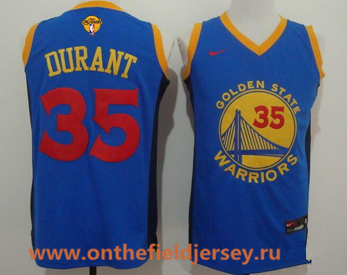 Men's Golden State Warriors #35 Kevin Durant Blue With Red Fashion Stitched NBA Nike Swingman 2017 The NBA Finals Patch Jersey