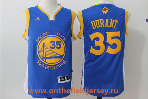 Men's Golden State Warriors #35 Kevin Durant Royal Blue Adidas Road 2017 The NBA Finals Patch Jersey