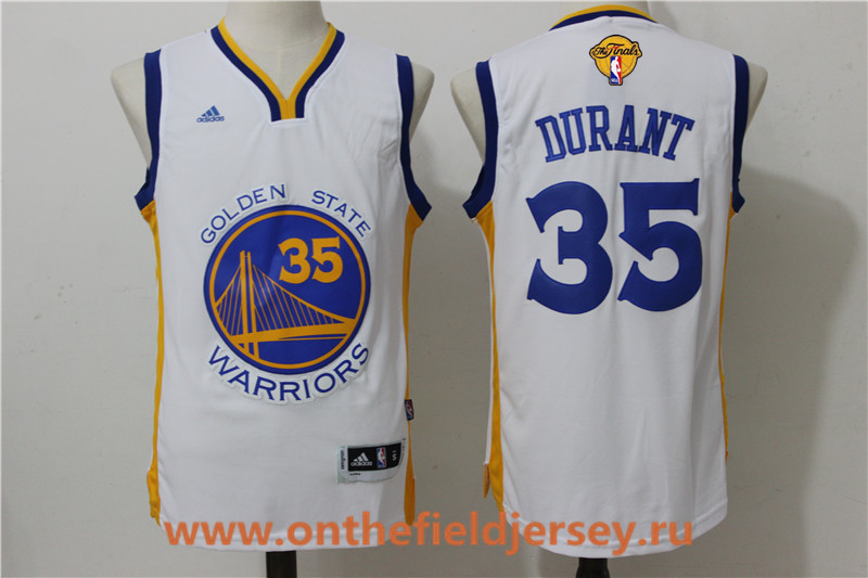 Men's Golden State Warriors #35 Kevin Durant White 2017 The NBA Finals Patch Adidas Home Jersey