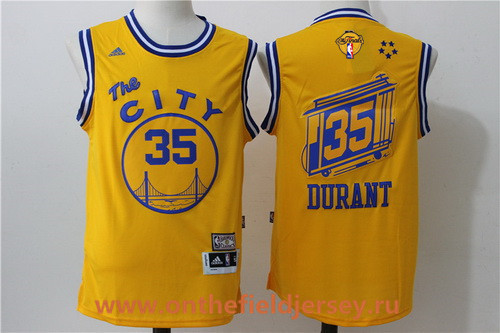 Men's Golden State Warriors #35 Kevin Durant Yellow The City Revolution 30 Swingman 2017 The NBA Finals Patch Jersey