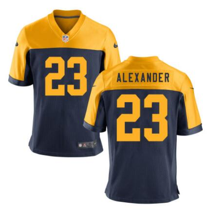 Men's Green Bay Packers #23 Jaire Alexander Navy Blue Gold Alternate Stitched NFL Nike Game Jersey