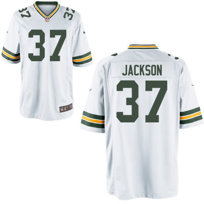 Men's Green Bay Packers #37 Josh Jackson White Road Stitched NFL Nike Game Jersey