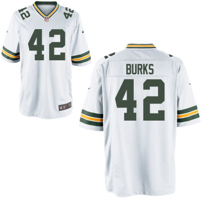 Men's Green Bay Packers #42 Oren Burks White Road Stitched NFL Nike Game Jersey