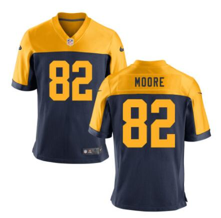 Men's Green Bay Packers #82 J'Mon Moore Navy Blue Gold Alternate Stitched NFL Nike Game Jersey