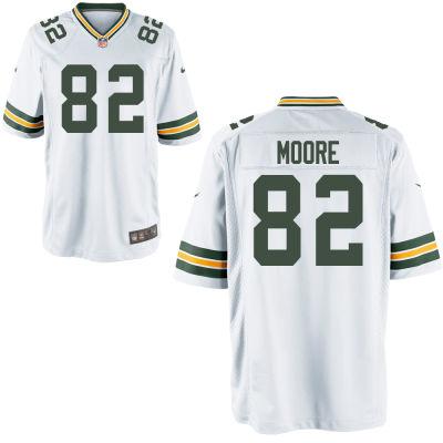 Men's Green Bay Packers #82 J'Mon Moore White Road Stitched NFL Nike Game Jersey