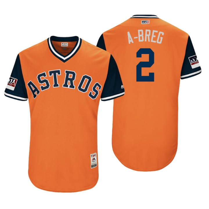Men's Houston Astros Authentic Alex Bregman #2 Orange 2018 LLWS Players Weekend A-Breg Jersey