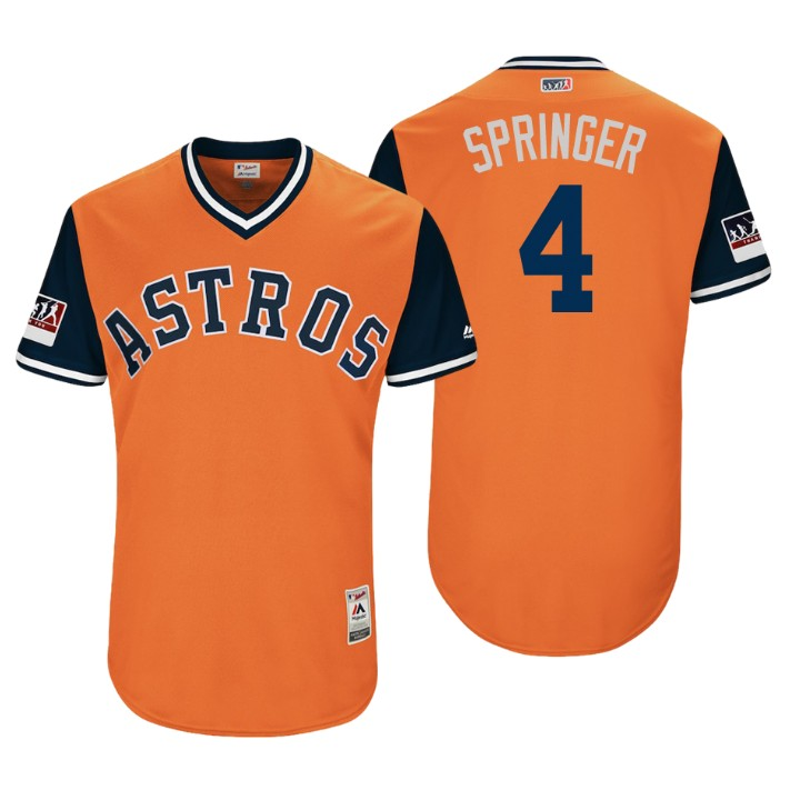 Men's Houston Astros Authentic George Springer #4 Orange 2018 LLWS Players Weekend Springer Jersey