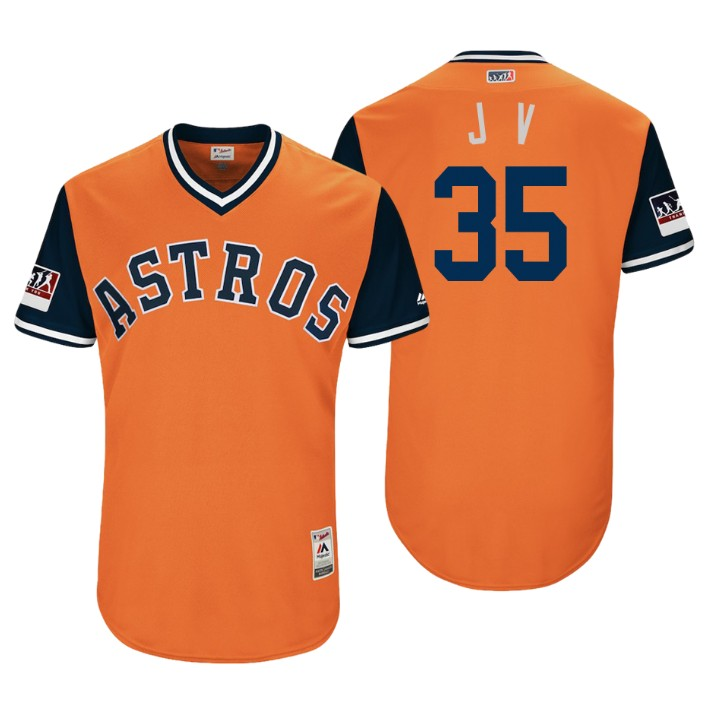 Men's Houston Astros Authentic Justin Verlander #35 Orange 2018 LLWS Players Weekend J V Jersey