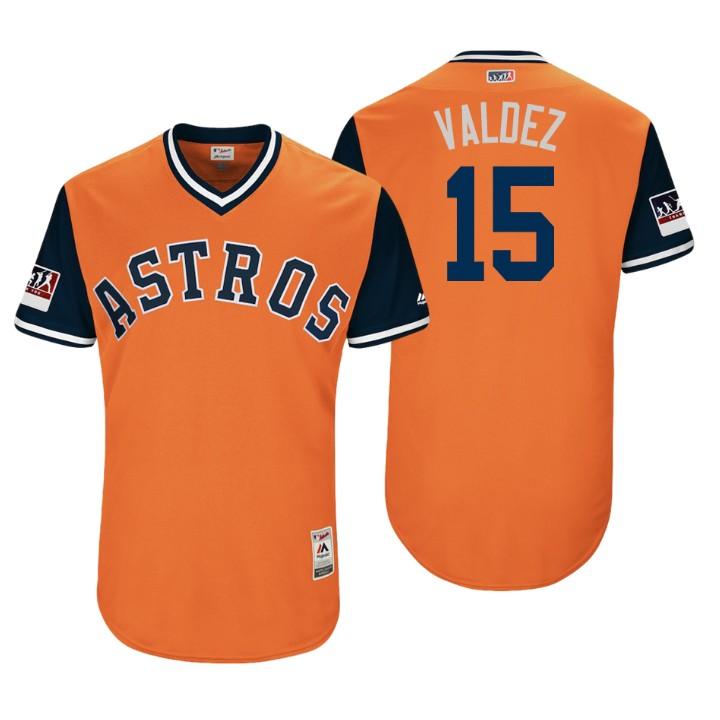 Men's Houston Astros Authentic Martin Maldonado #15 Orange 2018 LLWS Players Weekend Valdez Jersey