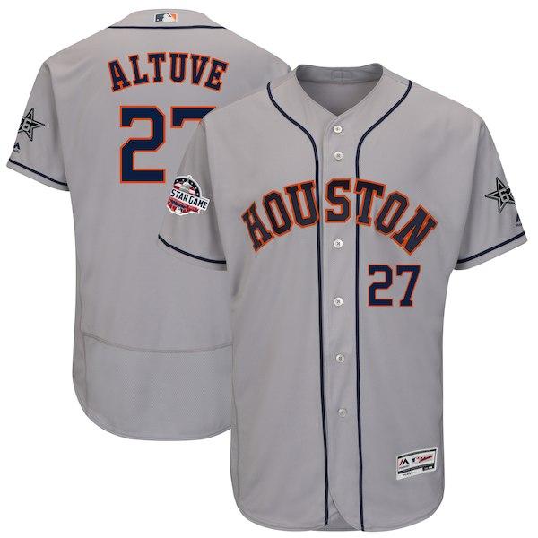 Men's Houston Astros Jose Altuve Majestic Gray 2018 MLB All-Star Game Authentic Flex Base Player Jersey