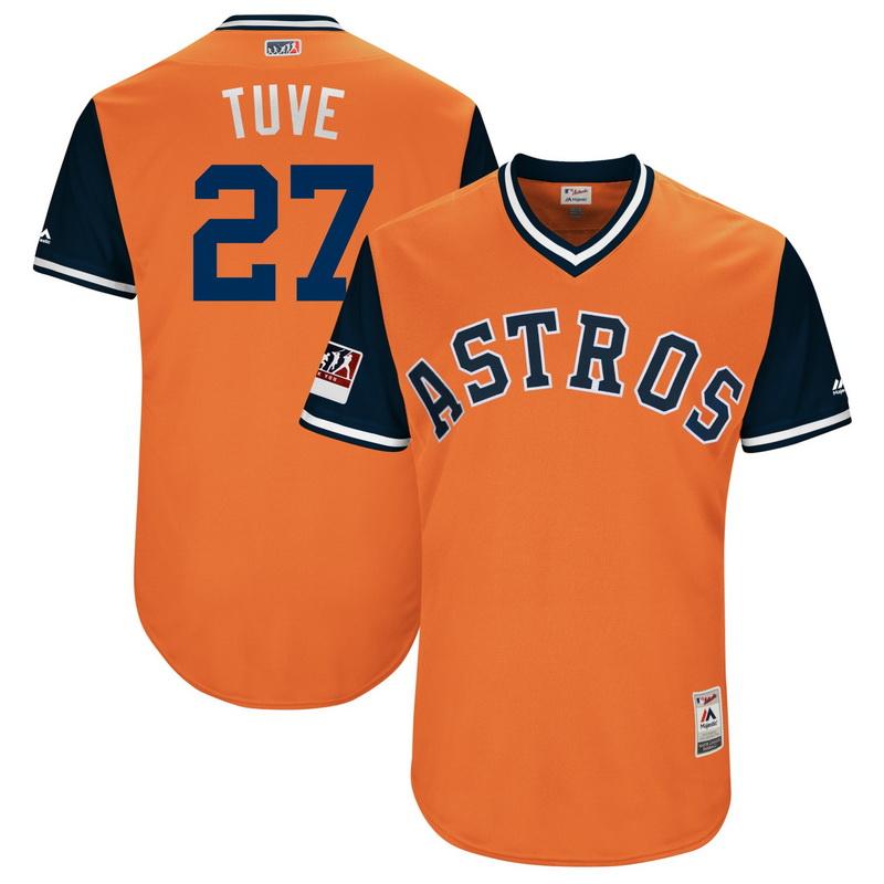 Men's Houston Astros Jose Altuve Tuve Majestic Orange-Navy 2018 Players' Weekend Authentic Jersey