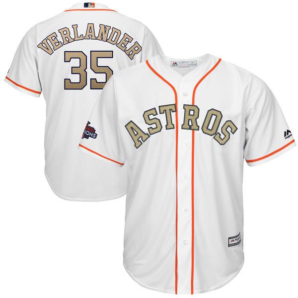 Men's Houston Astros #35 Justin Verlander Majestic White 2018 Gold Program Cool Base Player Jersey
