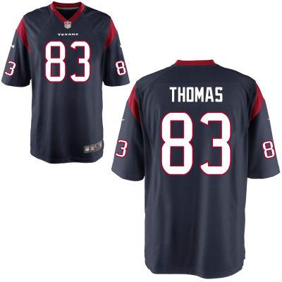 Men's Houston Texans #83 Jordan Thomas Navy Blue Team Color Stitched NFL Nike Game Jersey