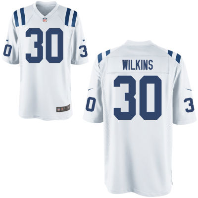 Men's Indianapolis Colts #30 Jordan Wilkins White Road Stitched NFL Nike Game Jersey