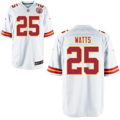 Men's Kansas City Chiefs #25 Armani Watts White Road Stitched NFL Nike Game Jersey