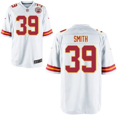 Men's Kansas City Chiefs #39 Tremon Smith White Road Stitched NFL Nike Game Jersey