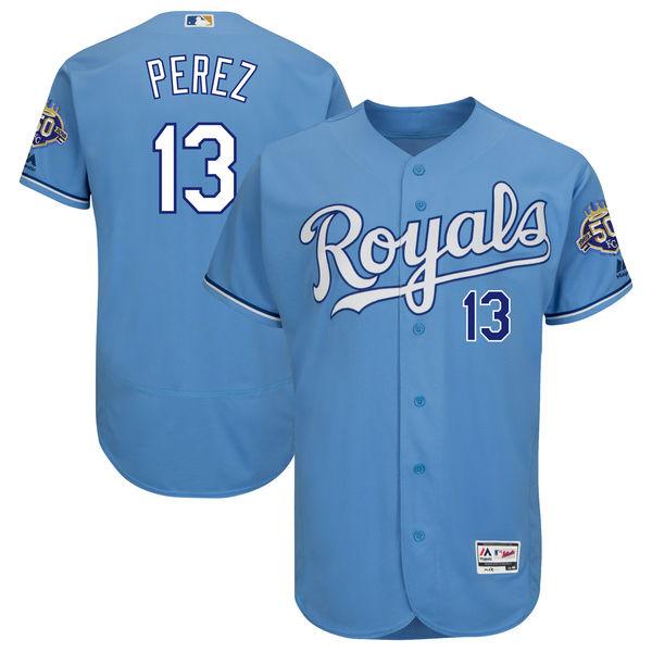Men's Kansas City Royals #13 Salvador Perez Majestic Light Blue 50th Season Patch On-Field Flex Base Player Jersey