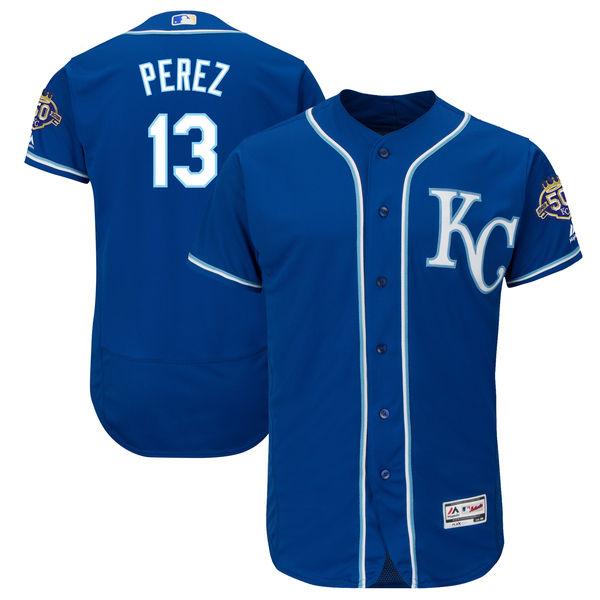Men's Kansas City Royals #13 Salvador Perez Majestic Royal 50th Season Patch On-Field Flex Base Player Jersey