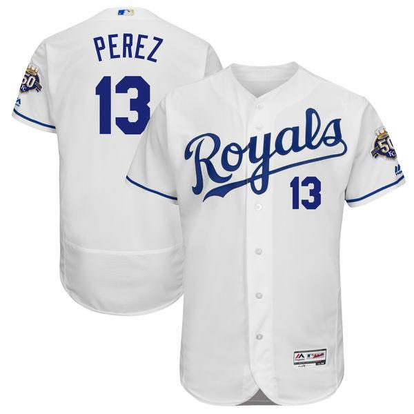 Men's Kansas City Royals #13 Salvador Perez Majestic White 50th Season Patch On-Field Flex Base Player Jersey