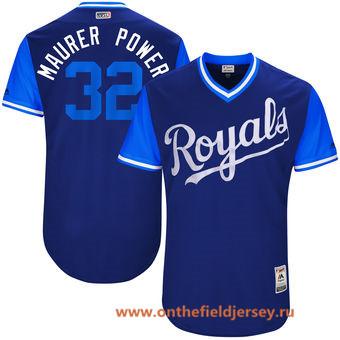 Men's Kansas City Royals Brandon Maurer -Maurer Power- Majestic Royal 2017 Little League World Series Players Weekend Stitched Nickname Jersey