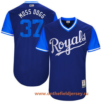 Men's Kansas City Royals Brandon Moss -Moss Dogg- Majestic Royal 2017 Little League World Series Players Weekend Stitched Nickname Jersey