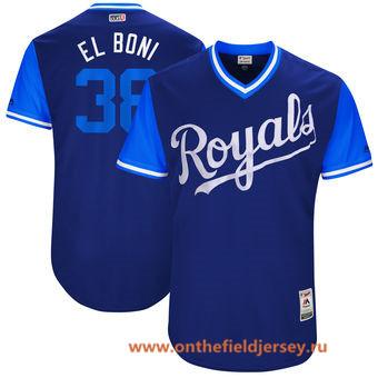 Men's Kansas City Royals Jorge Bonifacio -El Boni- Majestic Royal 2017 Little League World Series Players Weekend Stitched Nickname Jersey