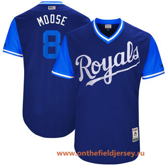 Men's Kansas City Royals Mike Moustakas -Moose- Majestic Royal 2017 Little League World Series Players Weekend Stitched Nickname Jersey