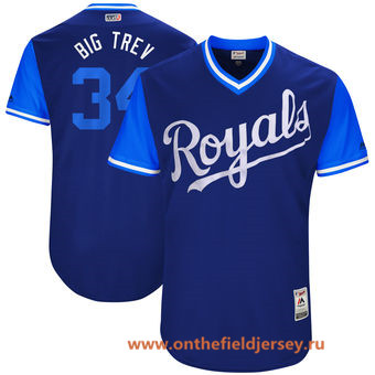 Men's Kansas City Royals Trevor Cahill -Big Trev- Majestic Royal 2017 Little League World Series Players Weekend Stitched Nickname Jersey
