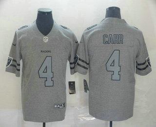 Men's Las Vegas Raiders #4 Derek Carr 2019 Gray Gridiron Vapor Untouchable Stitched NFL Nike Limited Jersey