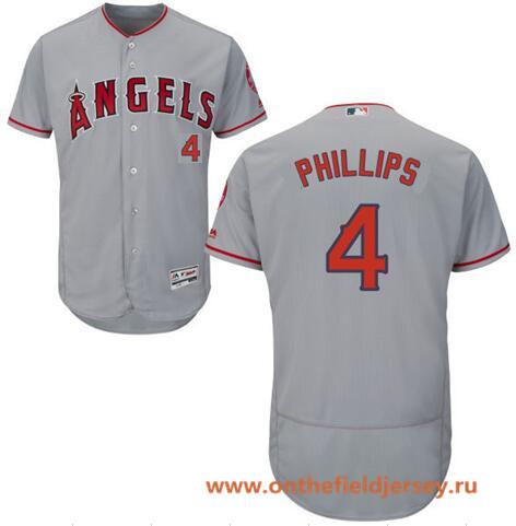 Men's Los Angeles Angels #4 Brandon Phillips Gray Road Stitched MLB Majestic Flex Base Jersey