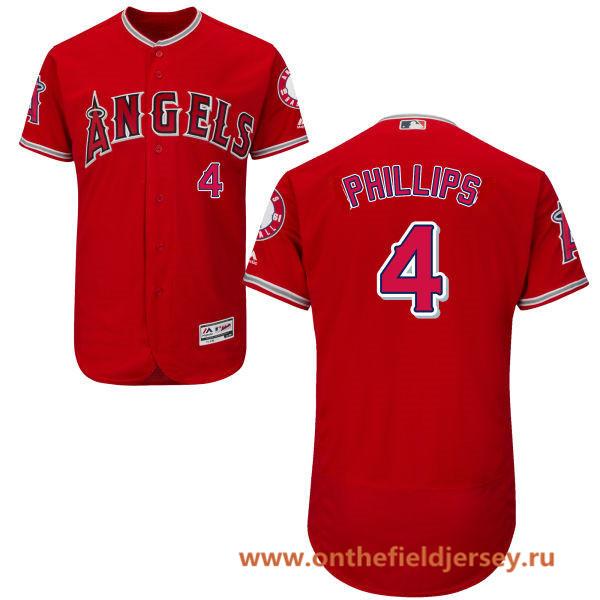 Men's Los Angeles Angels #4 Brandon Phillips Red Alternate Stitched MLB Majestic Flex Base Jersey