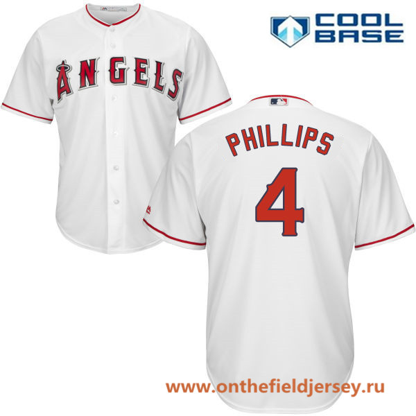 Men's Los Angeles Angels #4 Brandon Phillips White Home Stitched MLB Majestic Cool Base Jersey