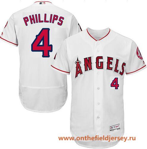 Men's Los Angeles Angels #4 Brandon Phillips White Home Stitched MLB Majestic Flex Base Jersey