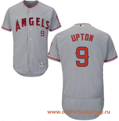 Men's Los Angeles Angels #9 Justin Upton Gray Road Stitched MLB Majestic Flex Base Jersey