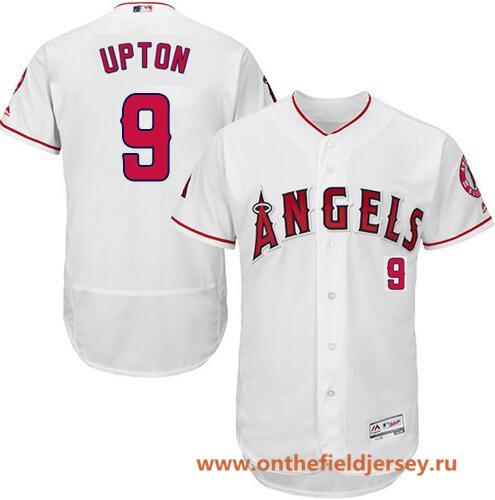 Men's Los Angeles Angels #9 Justin Upton White Home Stitched MLB Majestic Flex Base Jersey