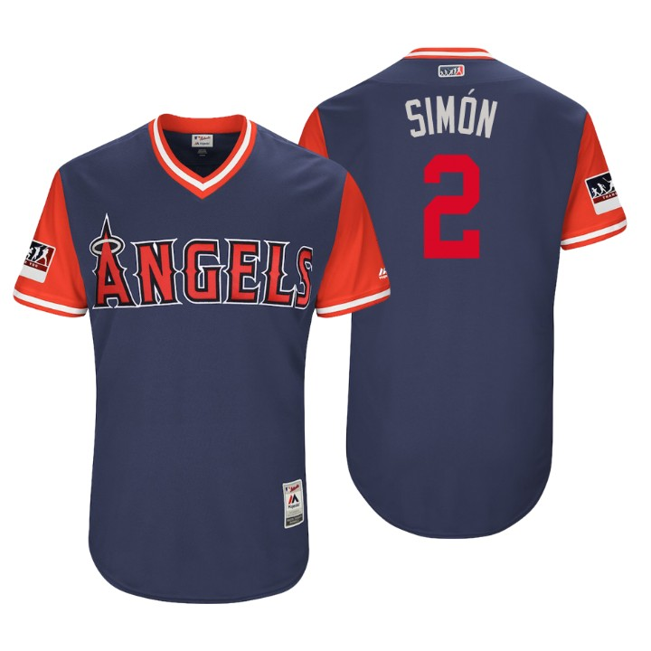 Men's Los Angeles Angels Authentic Andrelton Simmons #2 Navy 2018 LLWS Players Weekend Simon Jersey