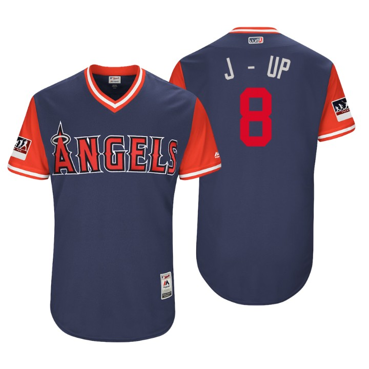 Men's Los Angeles Angels Authentic Justin Upton #8 Navy 2018 LLWS Players Weekend J - Up Jersey