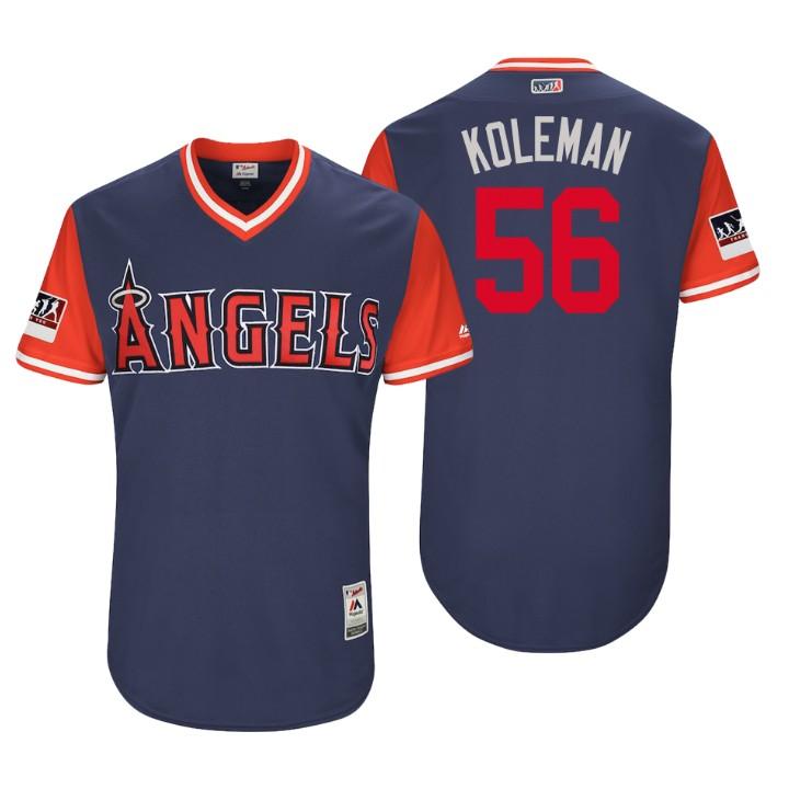 Men's Los Angeles Angels Authentic Kole Calhoun #56 Navy 2018 LLWS Players Weekend Koleman Jersey