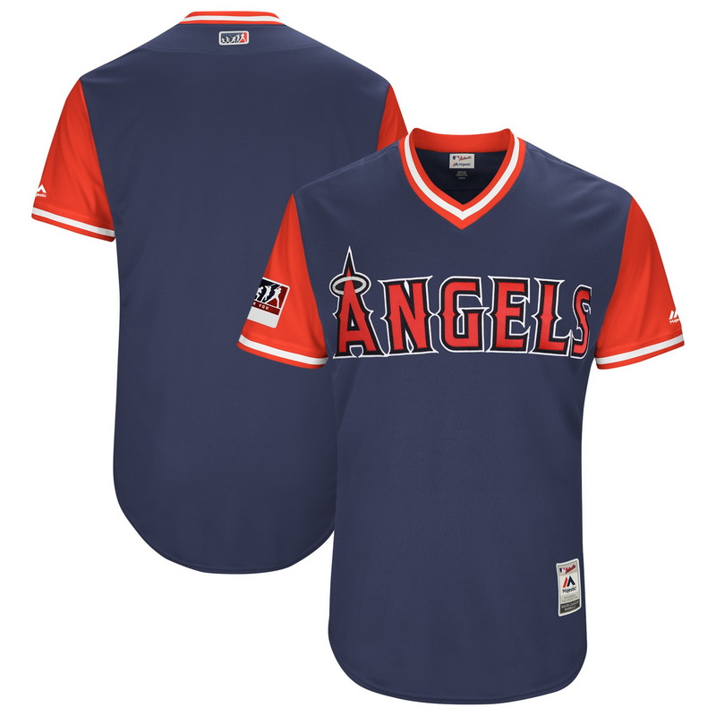 Men's Los Angeles Angels Majestic Navy-Red 2018 Players' Weekend Authentic Team Jersey