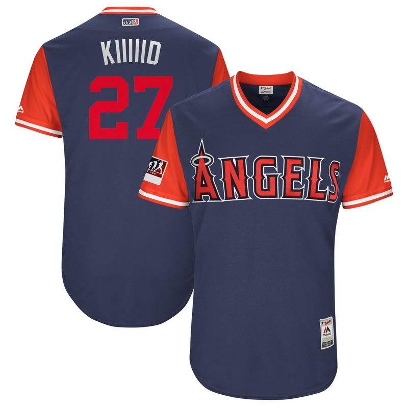 Men's Los Angeles Angels Mike Trout Kiiiiid Majestic Navy-Red 2018 Players' Weekend Authentic Jersey