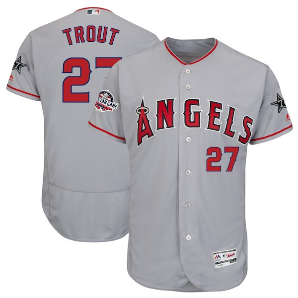 Men's Los Angeles Angels Mike Trout Majestic Gray 2018 MLB All-Star Game Authentic Flex Base Player Jersey