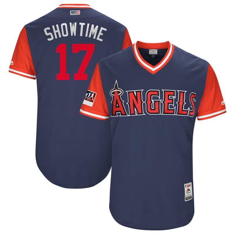 Men's Los Angeles Angels Shohei Ohtani Showtime Majestic Navy-Red 2018 Players' Weekend Authentic Jersey
