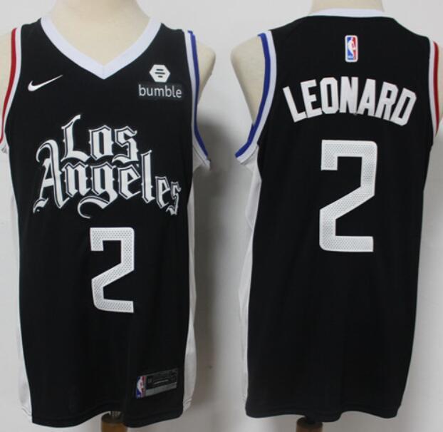 Men's Los Angeles Clippers #2 Kawhi Leonard NEW Black Nike 2021 Swingman City Edition Jersey With NEW The Sponsor Logo