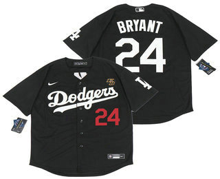 Men's Los Angeles Dodgers #24 Kobe Bryant Black with KB Patch Stitched MLB Cool Base Nike Baseball Jersey