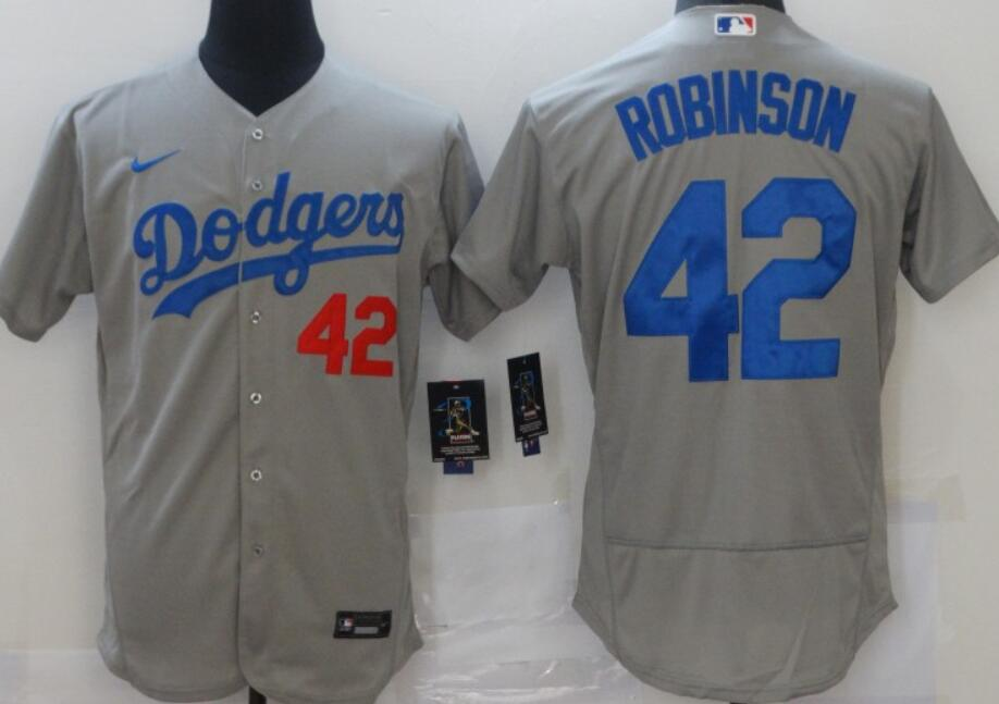 Men's Los Angeles Dodgers #42 Robinson Gray Nike Flex Base Stitched MLB Jerseys
