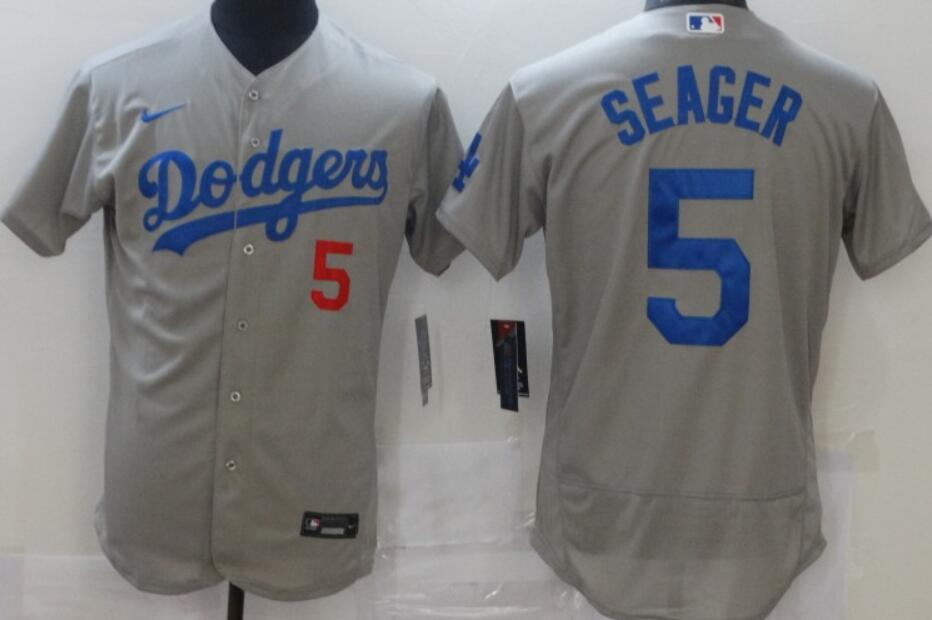 Men's Los Angeles Dodgers #5 Corey Seager Gray Stitched MLB Flex Base Jersey