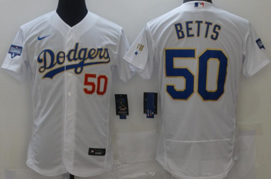 Men's Los Angeles Dodgers #50 Mookie Betts White with Gold 2021 Gold Program Nike Flex Base Stitched Baseball Jerseys