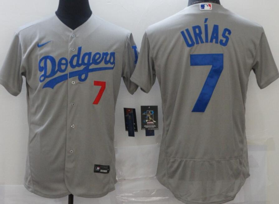Men's Los Angeles Dodgers #7 Julio Urias Gray Stitched MLB Flex Base Nike Jersey